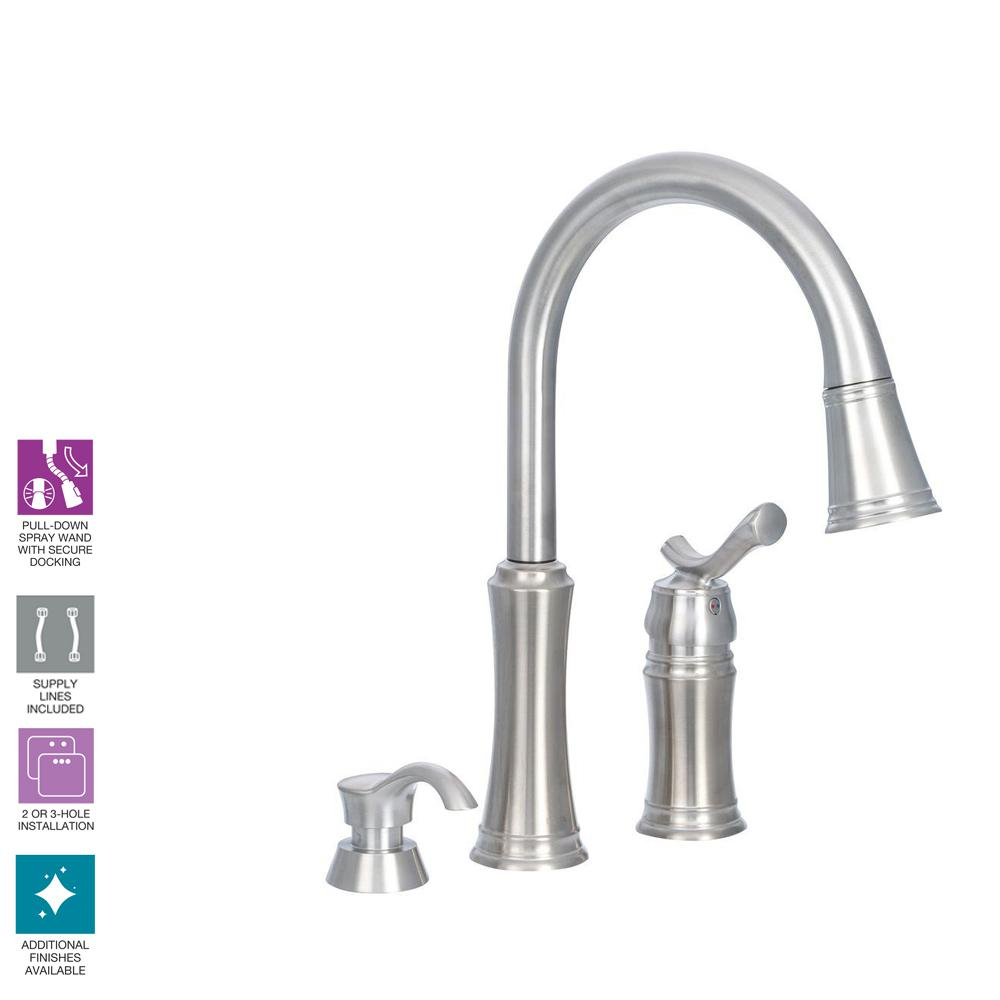 Delta Lakeview Single Handle Pull Down Sprayer Kitchen Faucet With Repair Diagram Further Replacement Parts Soap Dispenser In Stainless
