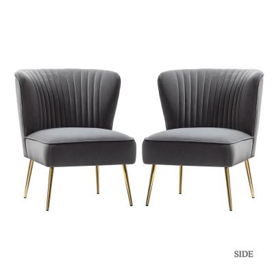 Monica Grey Gold Legs Side Chair Set of 2
