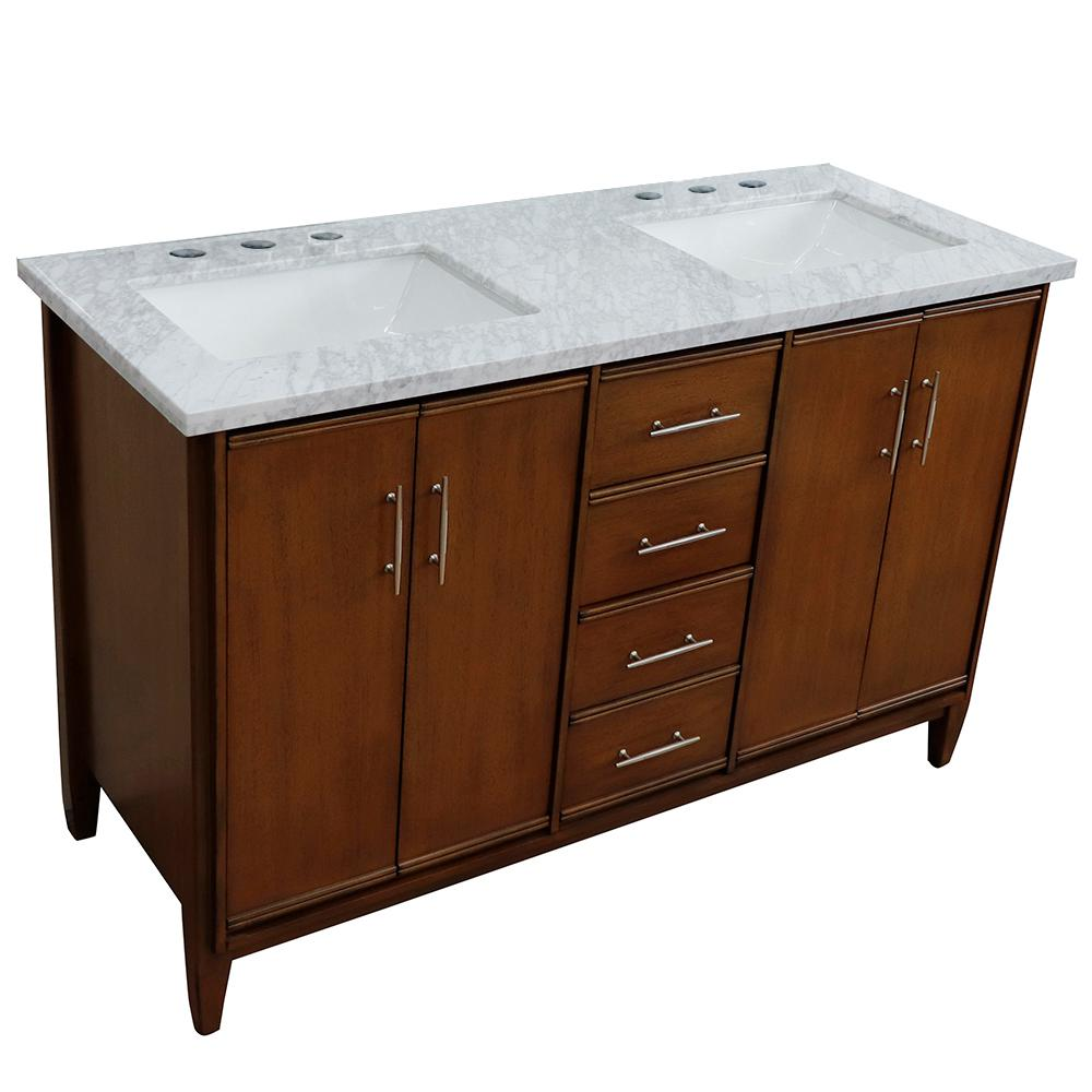 Bellaterra Home Plantation 55 in. W x 22 in. D x 35.5 in. H Brown Ash Bath Vanity with White Marble Vanity Top and White Basin