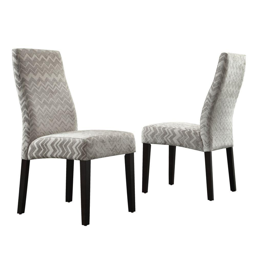 HomeSullivan Everit Wave Back Fabric Dining Chair in Grey Chevron (Set of 2)