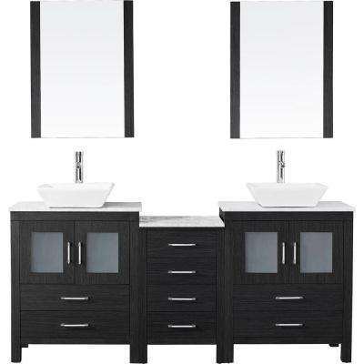 Dior 74 in. W x 18.3 in. D Vanity in Zebra Grey with Marble Vanity Top in White with White Basin and Mirror