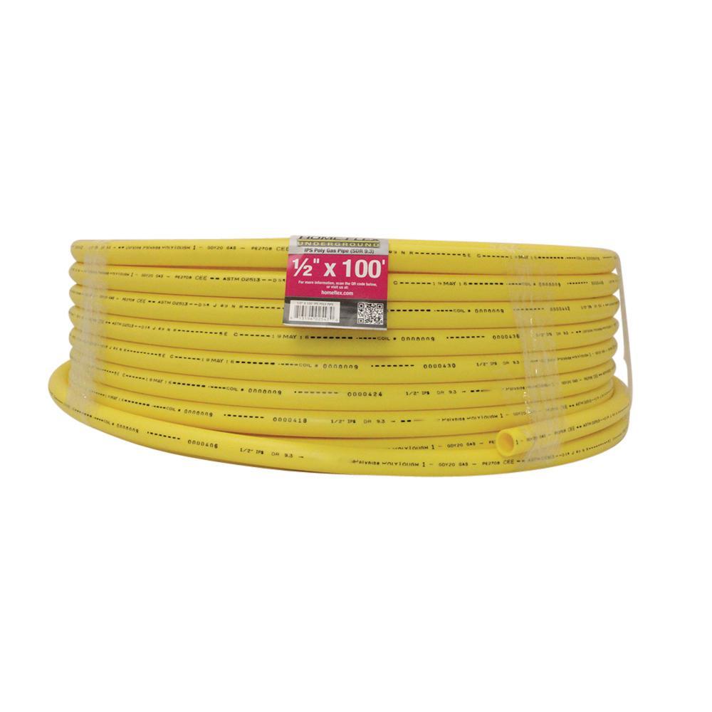 edb58ddf6f HOME-FLEX 1/2 in. IPS x 100 ft. SDR 9.3 Underground Yellow Polyethylene Gas  Pipe-19-0593100 - The Home Depot