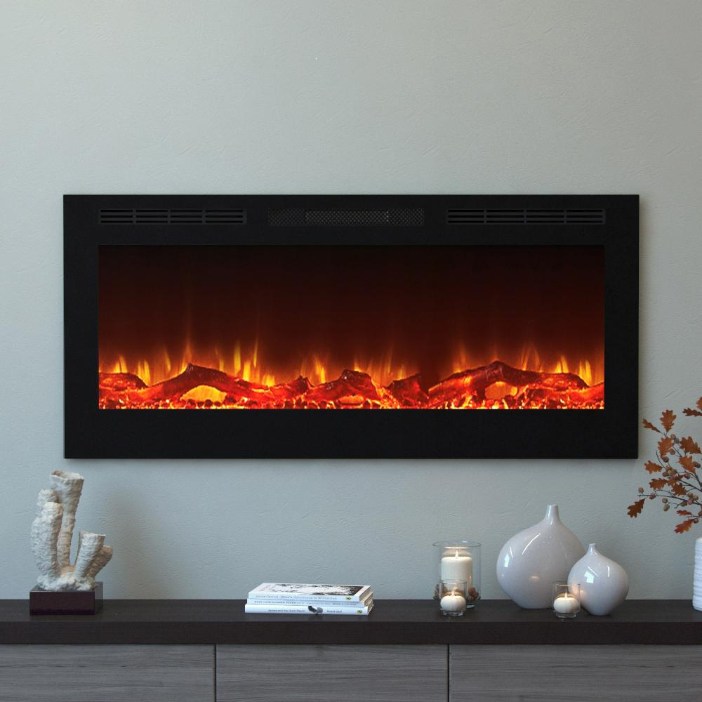 Make a bold statement in your home by choosing this Moda Flame Cynergy Log Electric Recessed Built-In Fireplace in Black.