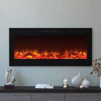 Cynergy 50 in. Log Electric Recessed Built-In Fireplace in Black