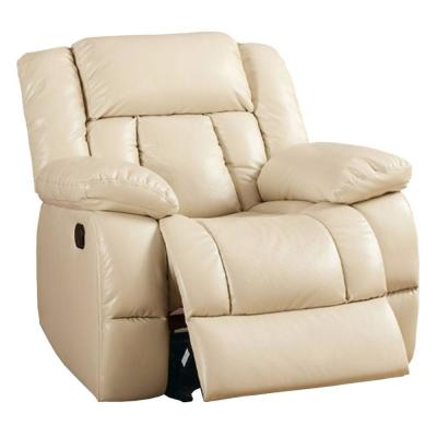 Ivory Bonded Leather Glider Recliner
