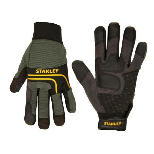 Men's Large Black Synthetic Leather Palm Gloves