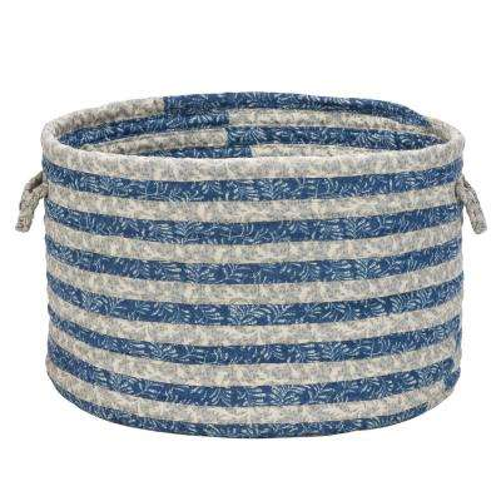 16 in. x 16 in. x 12 in. Blue Denim Soft Corded Round Fabric Basket