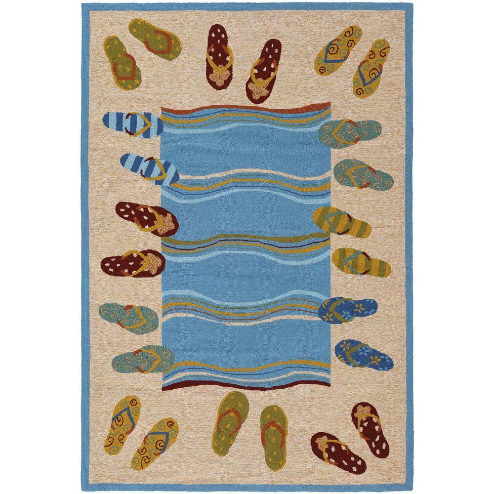 Couristan Outdoor Escape Sandals Sand-Multi 5 ft. 6 in. x 8 ft. Indoor/Outdoor Area Rug