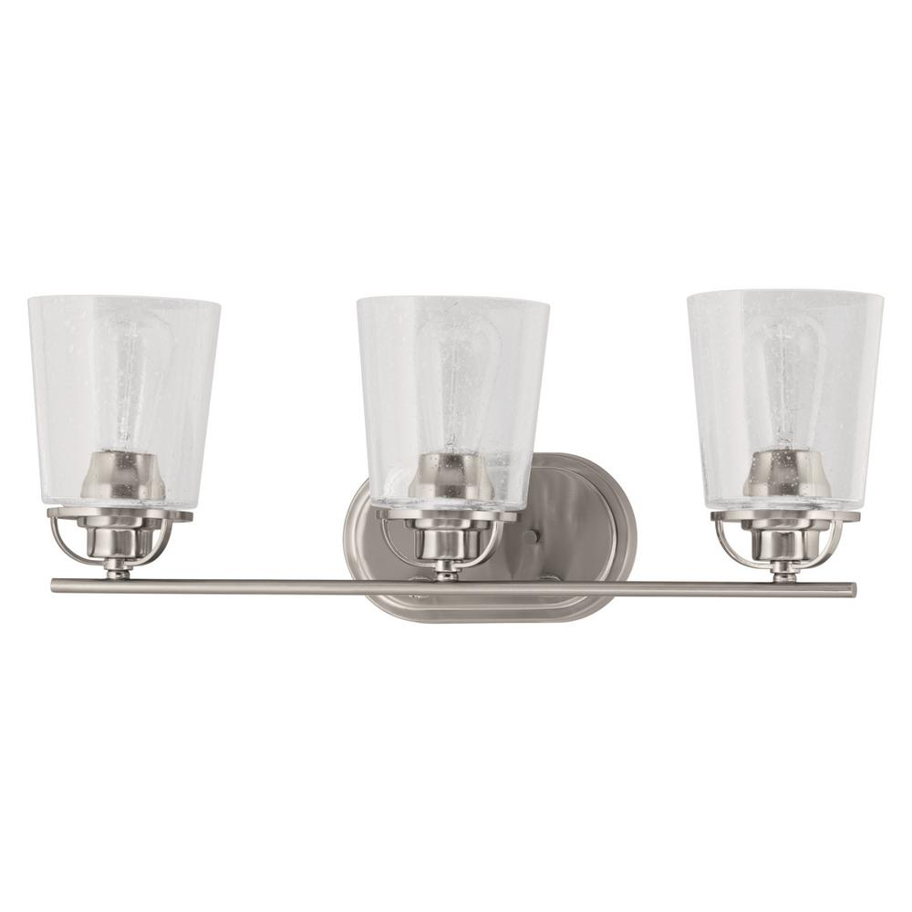 Progress Lighting Inspiration Collection 3-Light Brushed Nickel Vanity Light with Clear Seeded ...