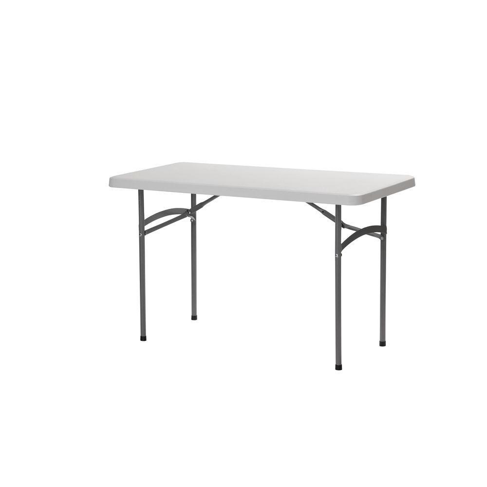sandusky 48 in white plastic portable folding utility table pt4824 the home depot. Black Bedroom Furniture Sets. Home Design Ideas