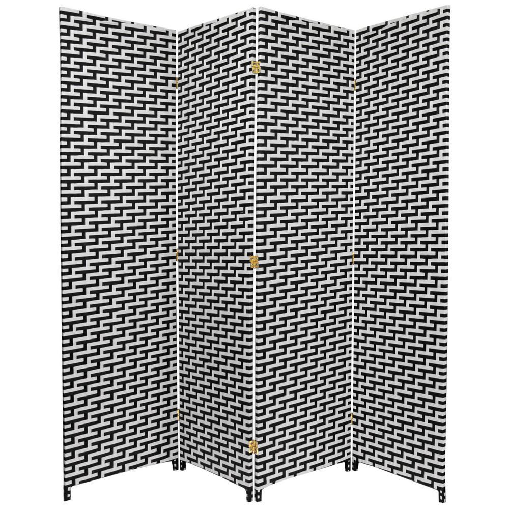Oriental Furniture 6 Ft. Black And White Woven Fiber 4 Panel Room Divider