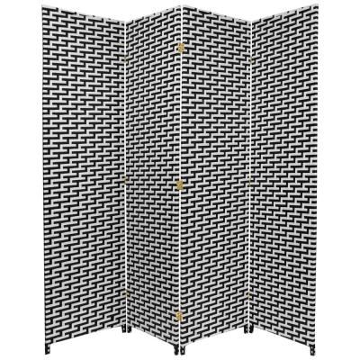 6 ft. Black and White Woven Fiber 4-Panel Room Divider