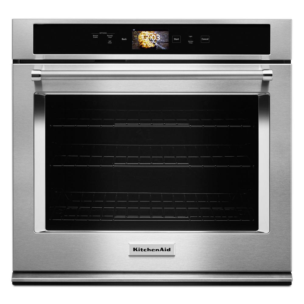 KitchenAid 30 in. Single Electric Smart Wall Oven with Powered Attachments  in Stainless Steel