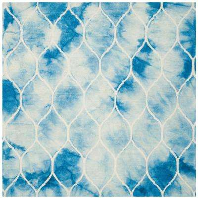 Dip Dye Blue/Ivory 7 ft. x 7 ft. Square Area Rug