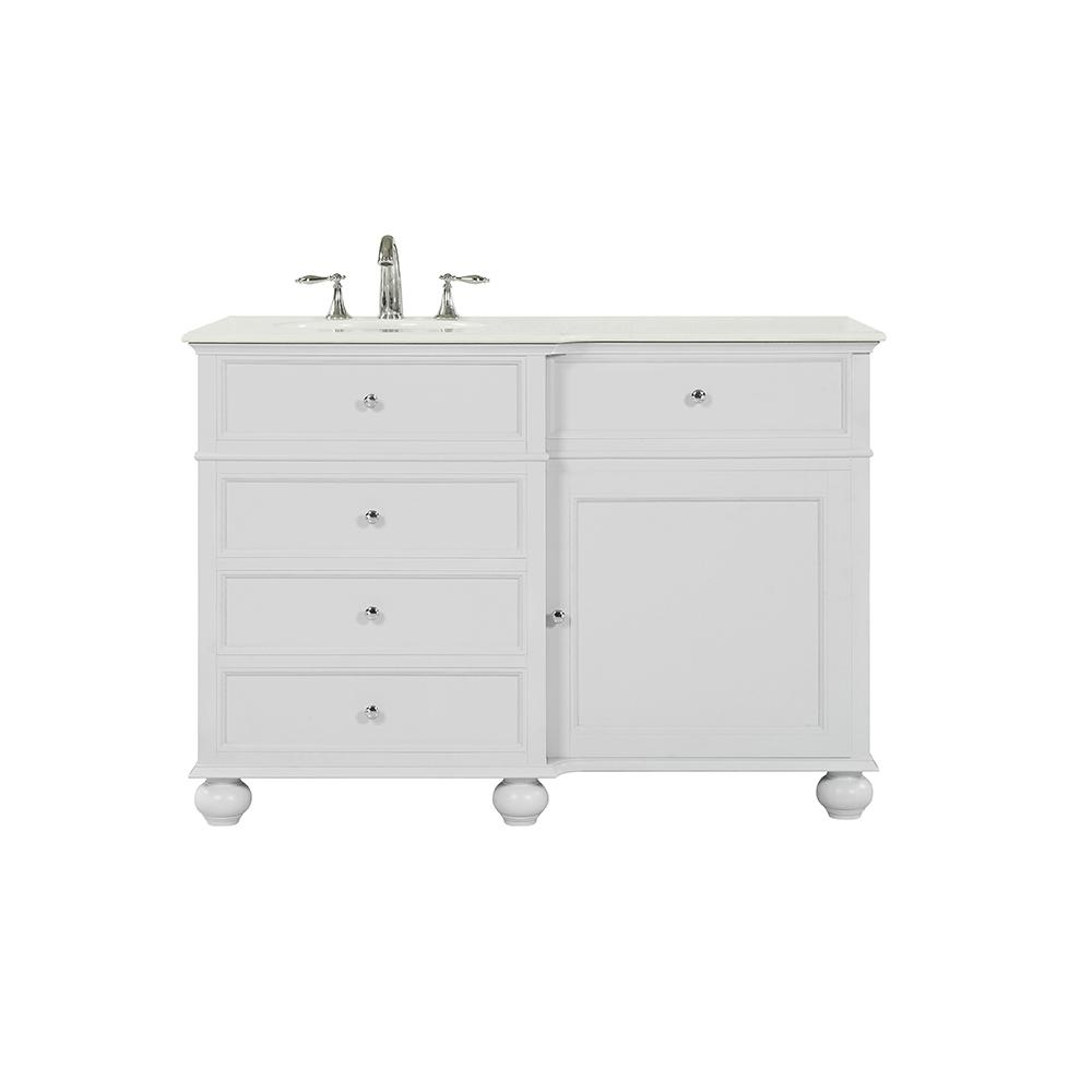 Home Decorators Collection Hampton Harbor 48 in. W x 22 in. D in Dove Grey Bath Vanity with  Natural Marble Vanity Top in White with White Sink