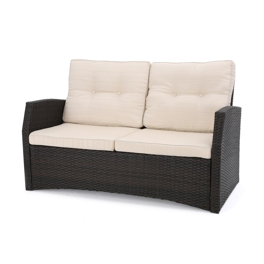 Sanger Dark Brown Wicker Outdoor Loveseat with Beige Cushions