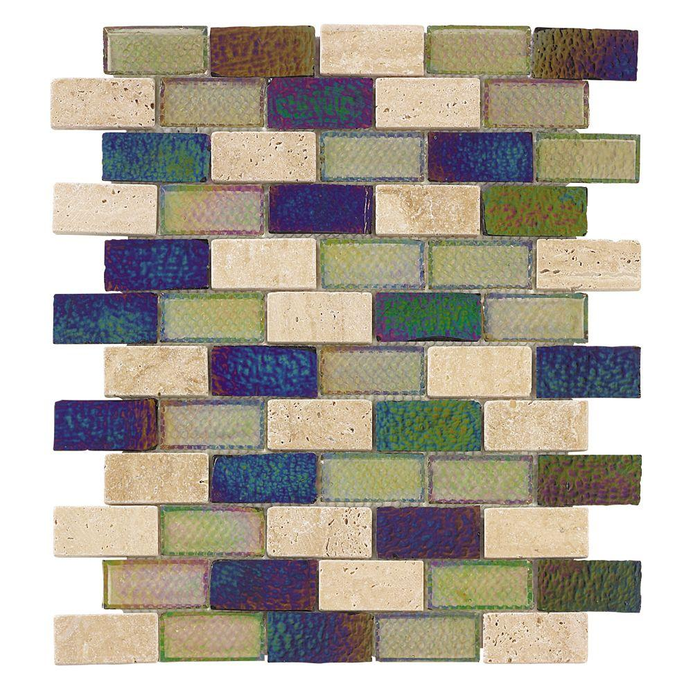 Jeffrey Court Mojave Gold Brick Glass 12 in. x 12 in. Wall Tile-DISCONTINUED