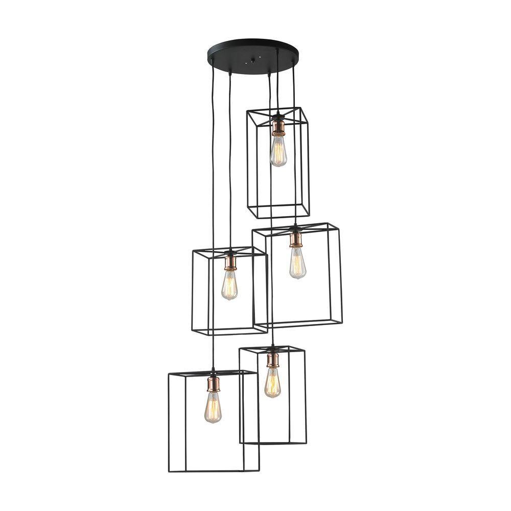 Box Cluster 5-Light Oil-Rubbed Black Pendant