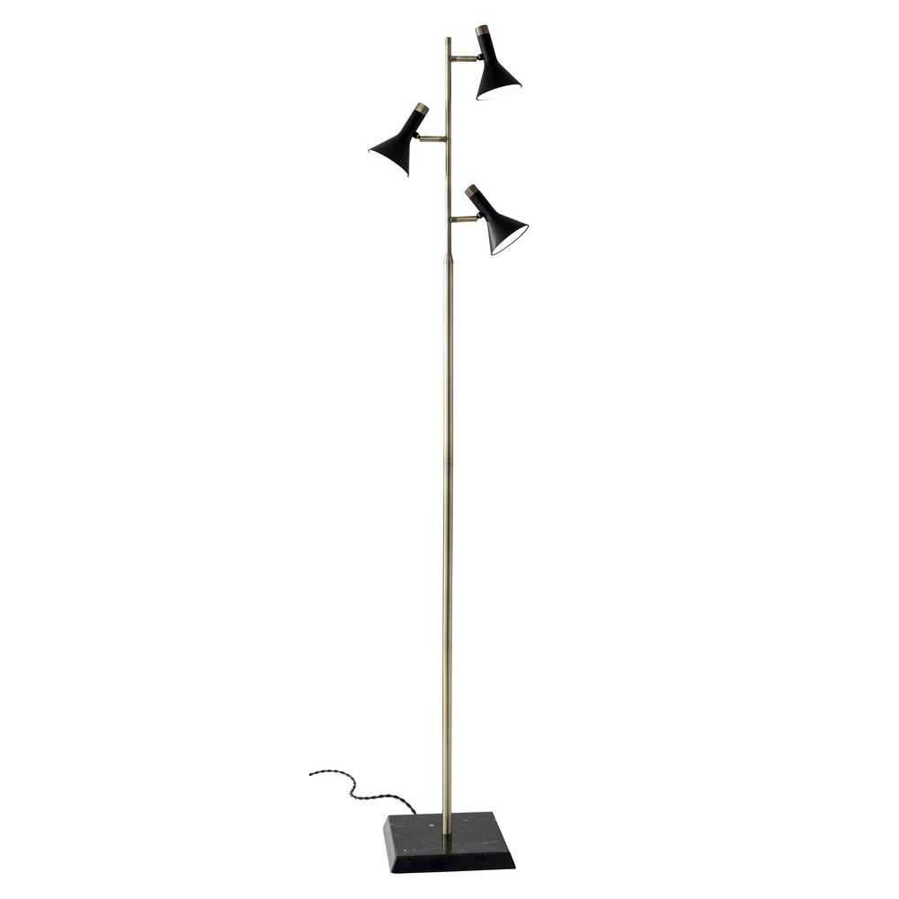 Bennett 62 in. Integrated LED Black/Brass Floor Lamp