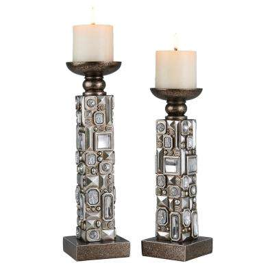 Silver Sierra Polyresin Candleholders (Set of 2)