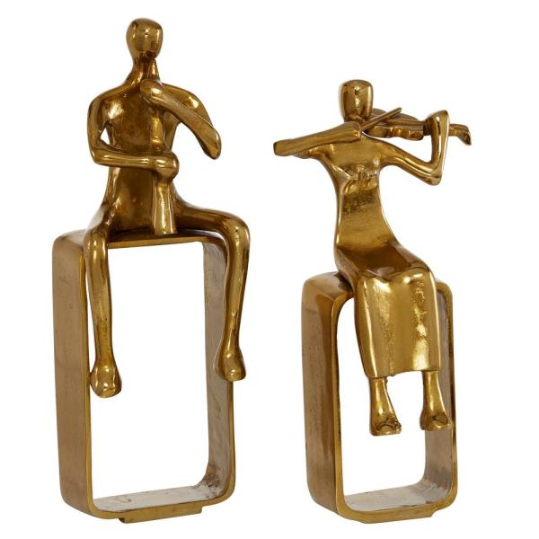 Eclectic Musician Aluminum Sculpture Decor Set in Polished Gold Finish, Set of 2: 12.5 in.H,14.5 in.H