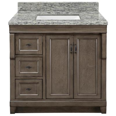 Naples 37 in. x 22 in. D Vanity in Distressed Grey with Granite Vanity Top in Santa Cecilia with Trough White Basin