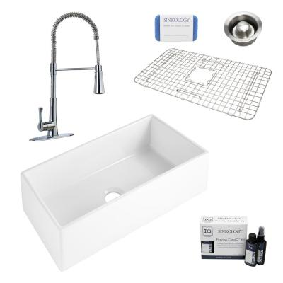Harper All-in-One Farmhouse Apron Front Fireclay 36 in. Single Bowl Kitchen Sink with Pfister Zuri Faucet and Drain
