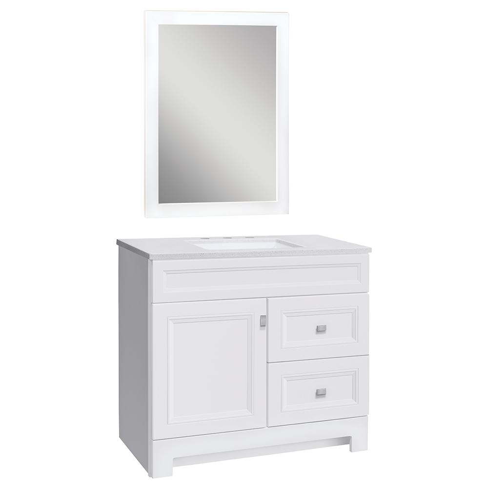 Home Decorators Collection Sedgewood 36-1/2 in. W Bath Vanity in White with Solid Surface Technology Vanity Top in Arctic with White Sink & Mirror