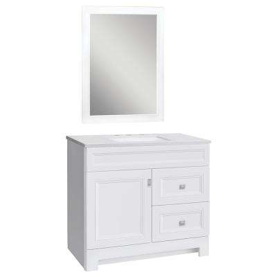 Sedgewood 36-1/2 in. W Bath Vanity in White with Solid Surface Technology Vanity Top in Arctic with White Sink & Mirror