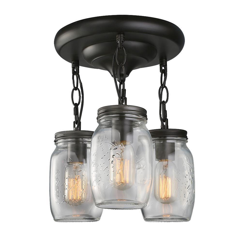 10 in. 3-Light Bronze Glass Jar Semi-Flush Mount Light