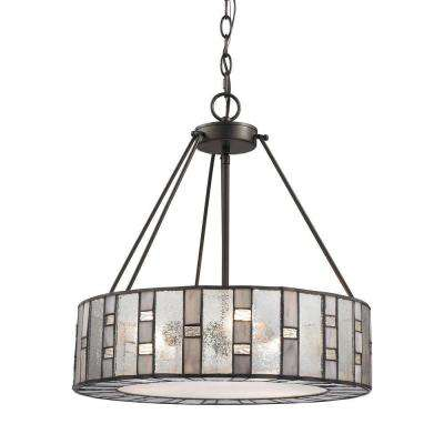 Ethan 3-Light Tiffany Bronze LED Chandelier