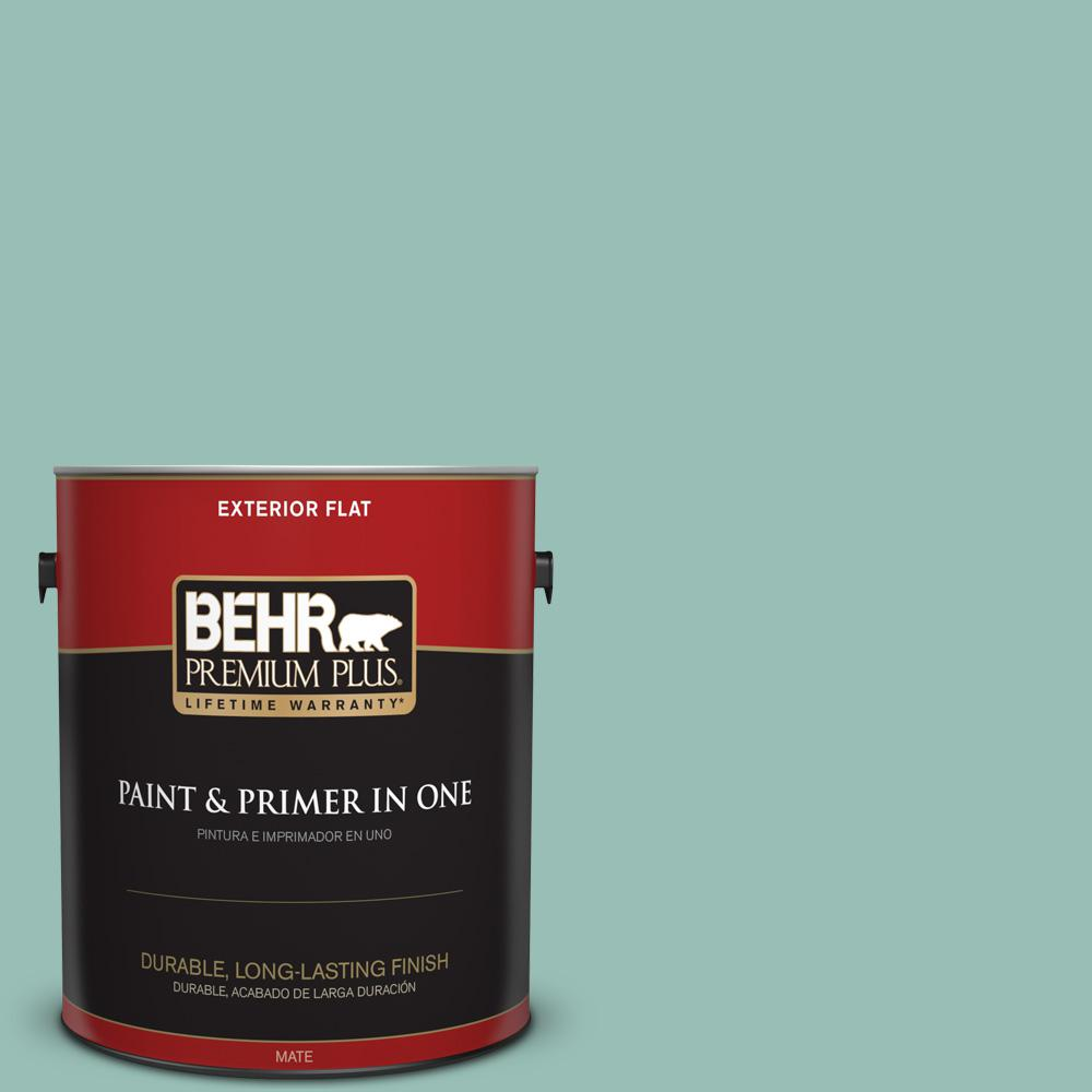 Behr Premium Plus 1 Gal Ppu12 08 Opal Silk Flat Exterior Paint And
