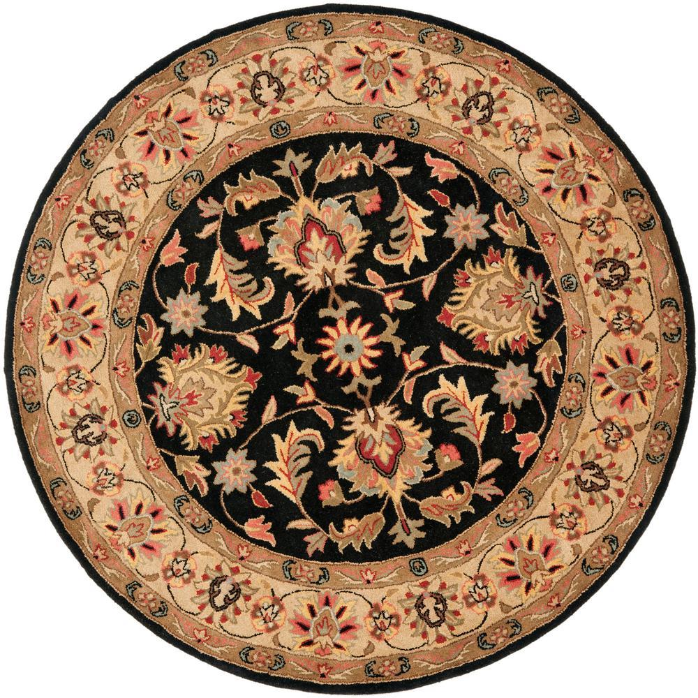 safavieh heritage black gold 8 ft x 8 ft round area rug hg957a 8r the home depot. Black Bedroom Furniture Sets. Home Design Ideas