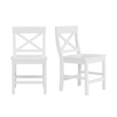 Cedarville White Wood Dining Chair with Cross Back (Set of 2) (19.42 in. W x 31.98 in. H)