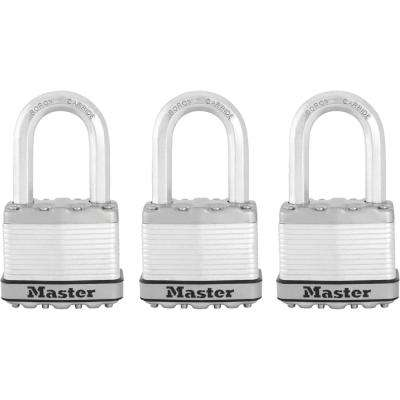 M5XTRILF Magnum 2 in. Wide Laminated Steel Keyed Padlock with 1-1/2 in. Extra Long Shackle (3-Pack)