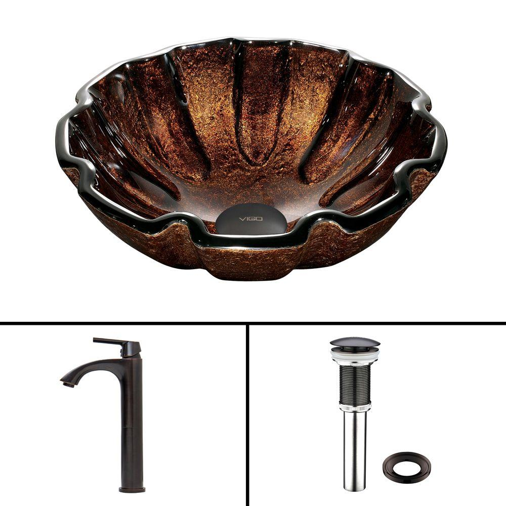VIGO Glass Vessel Sink in Walnut Shell and Linus Faucet Set in Antique Rubbed Bronze