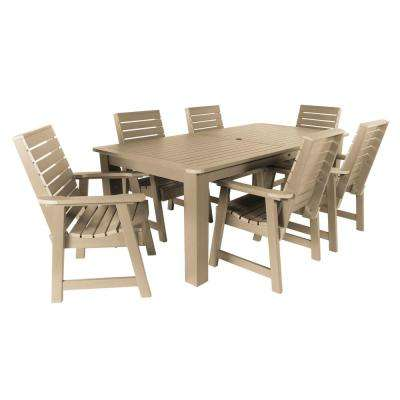 Weatherly Tuscan Taupe 7-Piece Recycled Plastic Rectangular Outdoor Dining Set
