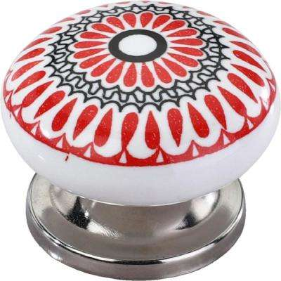 Candlenut 1-1/2 in. Red Leaves Cabinet Knob
