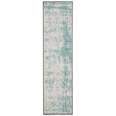 Passion Turquoise/Ivory 2 ft. x 6 ft. Runner Rug