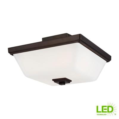 Ellis Harper 13 in. 2-Light Brushed Oil Rubbed Bronze Semi-Flush Mount with Etched White Glass Shade and LED Light Bulb