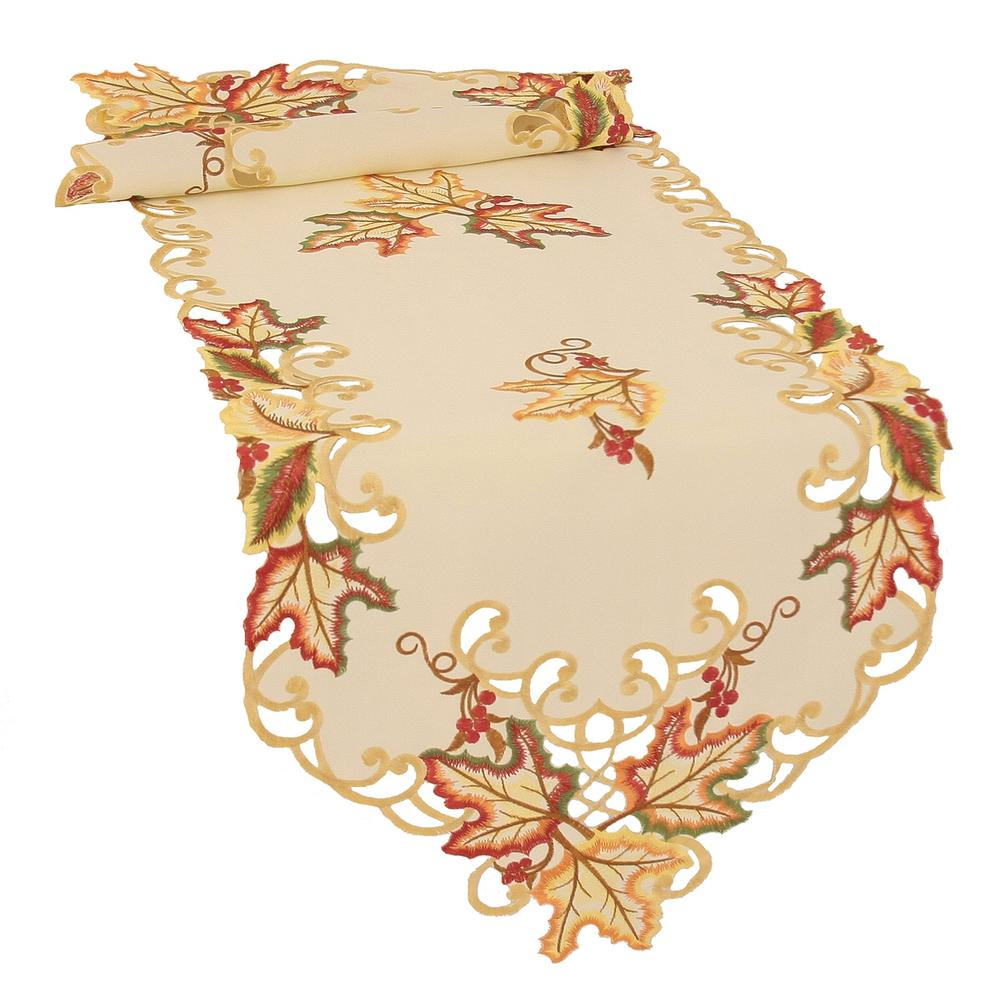 Xia Home Fashions 0.1 in. H x 15 in. W x 72 in. D Moisson Leaf Embroidered Cutwork Fall Table Runner