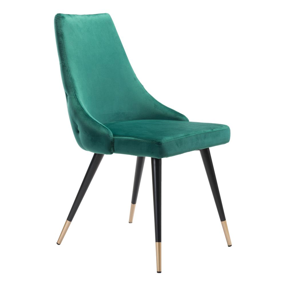 zuo piccolo green velvet dining chair set of 2 101090 the home depot. Black Bedroom Furniture Sets. Home Design Ideas