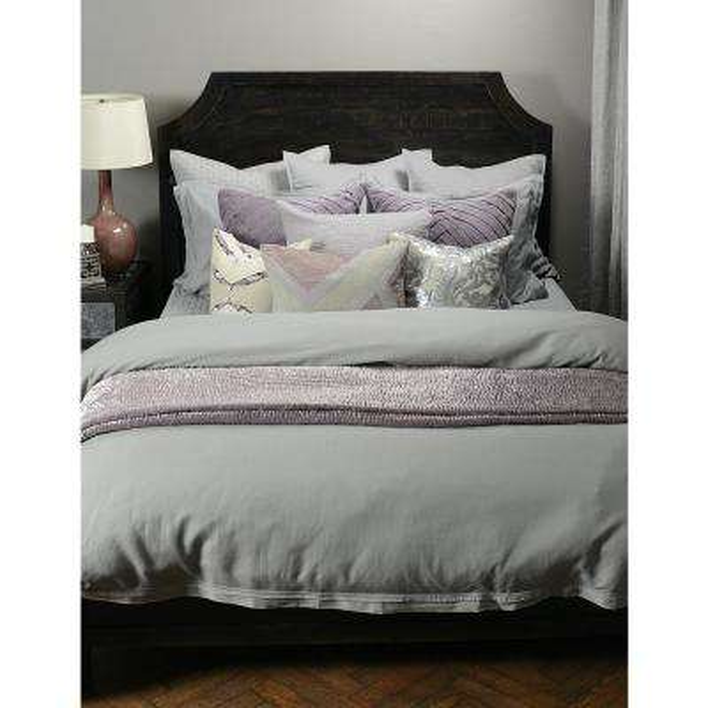 Harlow Gray Linen Blend Queen Duvet Cover