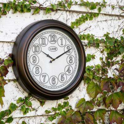 18 in. Indoor/Outdoor Analog Lighted Dial Wall Clock in Antique Bronze Finish