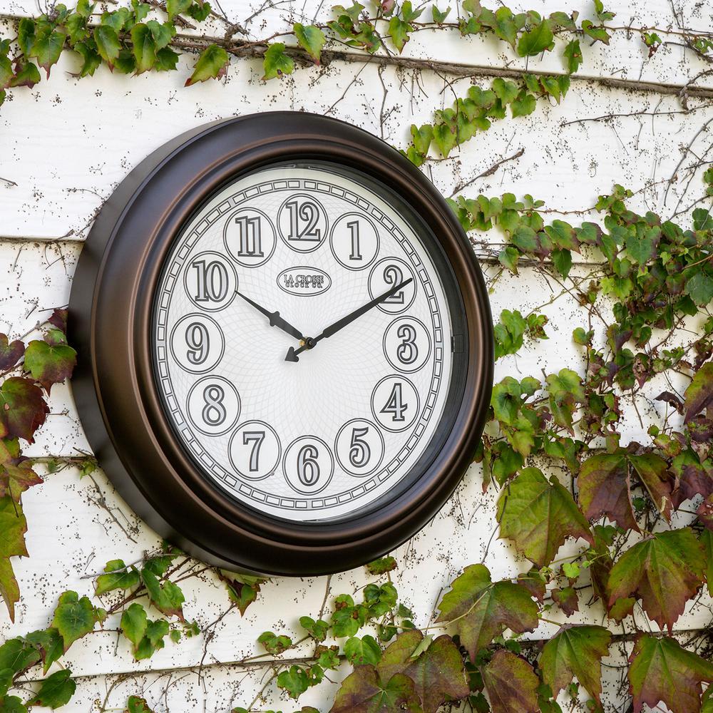 Indoor Outdoor Og Lighted Dial Wall Clock In Antique Bronze Finish