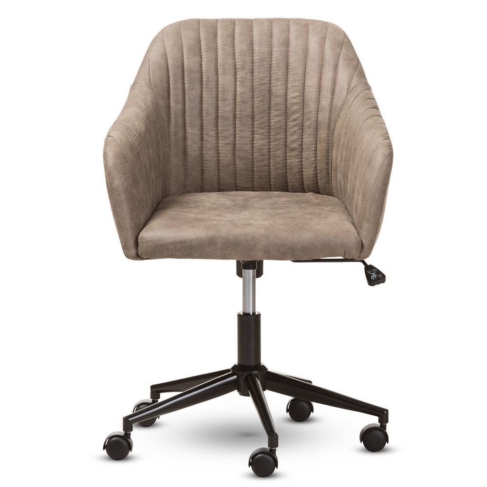 Maida Light Brown Fabric Office Chair