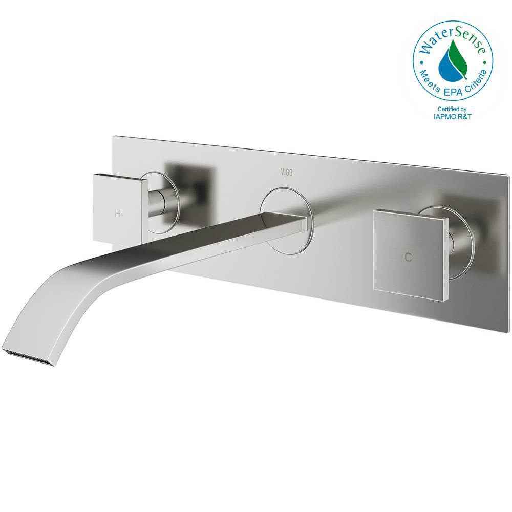 Vigo Single Hole 2 Handle Wall Mount Vessel Bathroom Faucet In