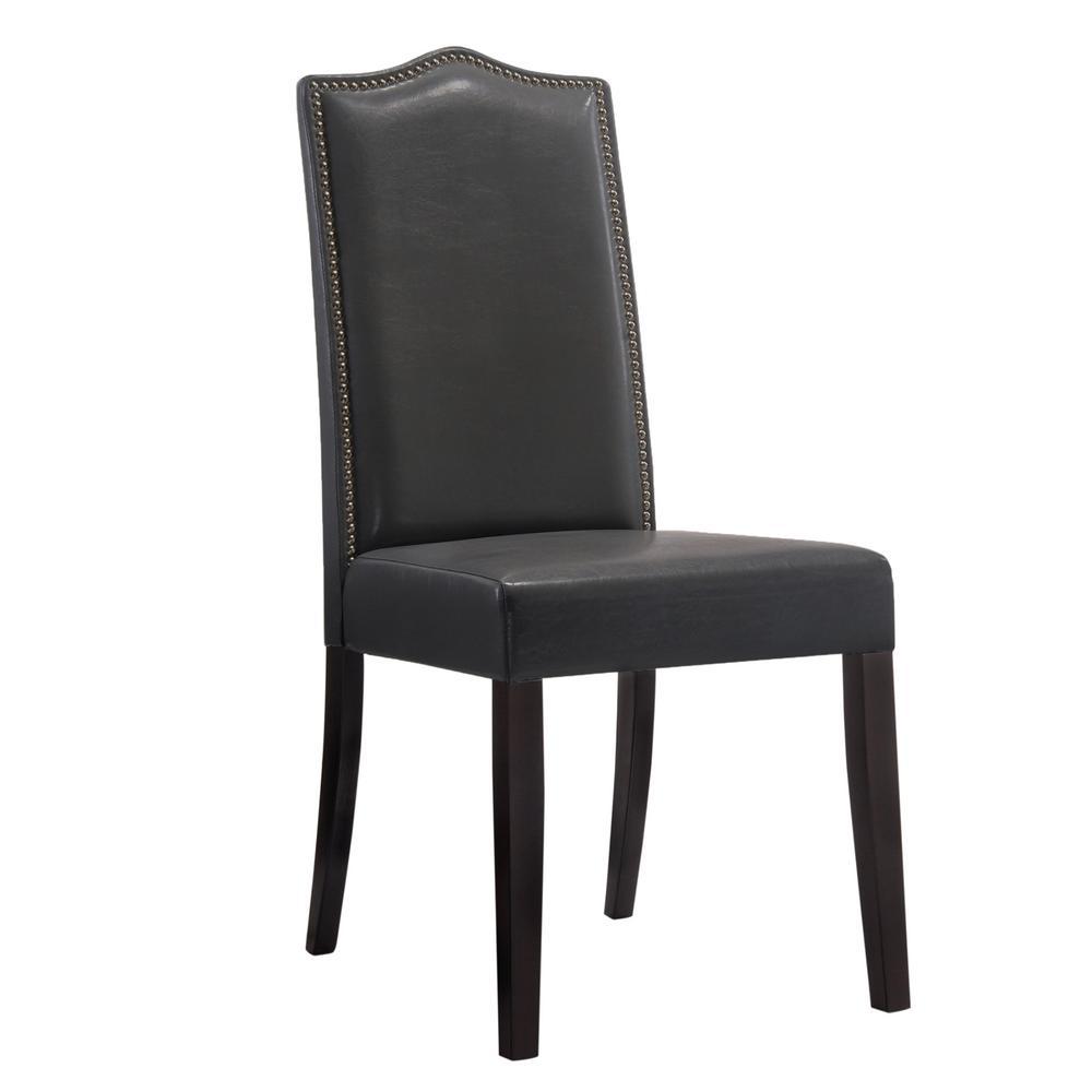 Carolina Cottage Edenton Black Leatherette Nail Head Parson Side Chair