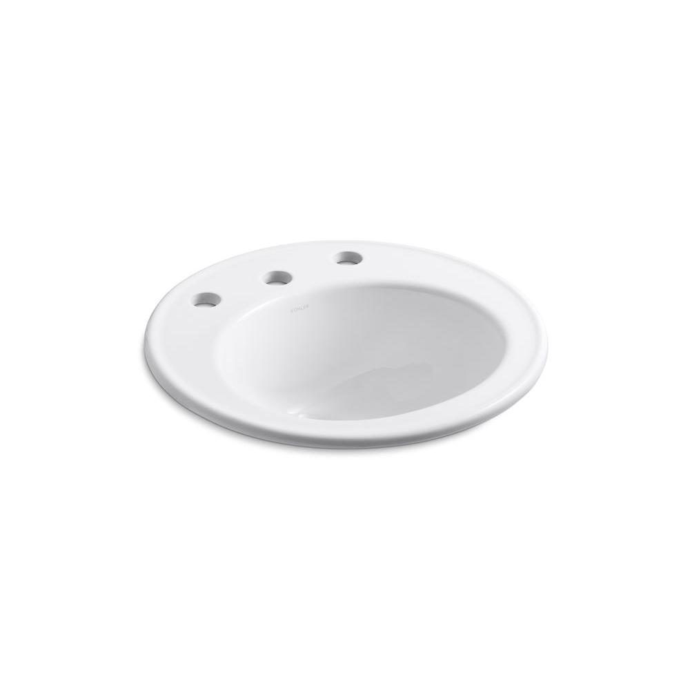 KOHLER Brookline Drop-In Vitreous China Bathroom Sink in White with Overflow Drain-K-2202-4-0 - The Home Depot