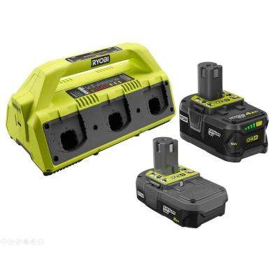 18-Volt ONE+ Battery and Charger Kit with (1) 2.0 Ah, (1) 4.0 Ah Battery, and 6-Port SUPERCHARGER